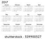 calendar for 2017 year on white ...   Shutterstock .eps vector #539900527
