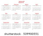 calendar for 2017 year on white ... | Shutterstock .eps vector #539900551