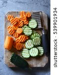 crinkle cut sliced cucumber and ... | Shutterstock . vector #539901934