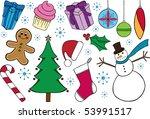 christmas themed doodles | Shutterstock .eps vector #53991517