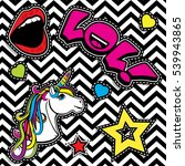 pop art fashion chic patches ... | Shutterstock .eps vector #539943865