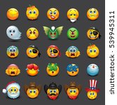 set of 25 emoticons  emoji ... | Shutterstock .eps vector #539945311