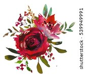 Stock photo red rose leaves hand painted watercolor bouquet isolated on white background 539949991