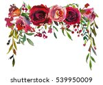 Stock photo red and coral roses leaves hand painted watercolor lbackdrop isolated on white background 539950009