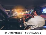 drunk young man driving a car... | Shutterstock . vector #539962081