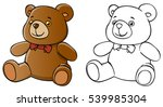 cartoon teddy bear and coloring ... | Shutterstock . vector #539985304