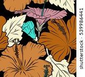 hibiscus flowers on black... | Shutterstock . vector #539986441