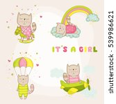 cute girl cat set. baby shower... | Shutterstock .eps vector #539986621