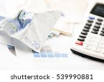 crumpled euro banknotes with... | Shutterstock . vector #539990881