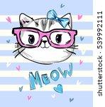 cute cat sketch vector... | Shutterstock .eps vector #539992111