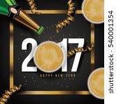 flat lay golden new year's... | Shutterstock .eps vector #540001354