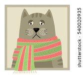 Cartoon Sick Cat In Scarf....