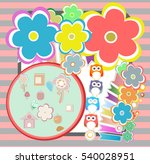 birthday party elements with... | Shutterstock . vector #540028951