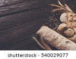 bread border on wood with copy... | Shutterstock . vector #540029077