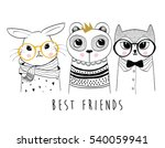 cartoon animal set vector  ... | Shutterstock .eps vector #540059941