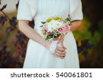 bridal bouquet in hands of the... | Shutterstock . vector #540061801