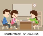 parent meeting with teacher in... | Shutterstock .eps vector #540061855