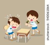 student girl panic helping... | Shutterstock .eps vector #540061864