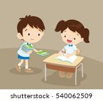 cute boy student giving book... | Shutterstock .eps vector #540062509