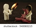 Woodman with too early exploded boarder and burnt male - stock photo