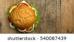 top view gourmet  hamburger on... | Shutterstock . vector #540087439