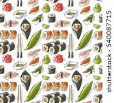 seamless pattern with sushi   Shutterstock .eps vector #540087715