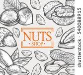 organic nuts food shop hand... | Shutterstock . vector #540088915