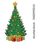 christmas tree decorated by... | Shutterstock . vector #540095014