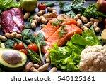 fresh fish  meat  vegetables ... | Shutterstock . vector #540125161