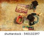 brazilian girls painting shells ... | Shutterstock . vector #540132397