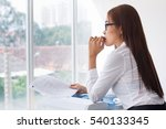 pensive female secretary with... | Shutterstock . vector #540133345