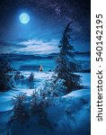 majestic full moon rising above ... | Shutterstock . vector #540142195