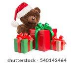 Teddy Bear In A Santa Hat And...
