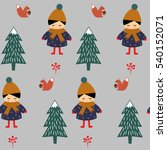cute girl with squirrel walking ... | Shutterstock .eps vector #540152071