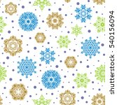 simple snowflakes seamless... | Shutterstock .eps vector #540156094