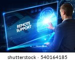 Small photo of Business, Technology, Internet and network concept. Business man working on the tablet of the future, select on the virtual display: REMOTE SUPPORT