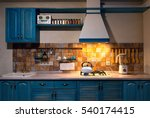 kitchen with blue boiling... | Shutterstock . vector #540174415