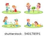 kids gardening character design | Shutterstock .eps vector #540178591