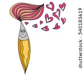 brush and hearts. vector... | Shutterstock .eps vector #540183619