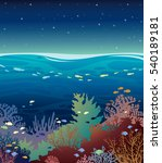 underwater coral reef seabed... | Shutterstock .eps vector #540189181