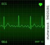 green heart monitor | Shutterstock .eps vector #54020281