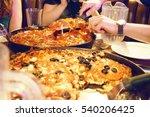 macro of chicago deep dish... | Shutterstock . vector #540206425