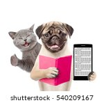 Stock photo funny cat and smart puppy with book and smartphone isolated on white background 540209167