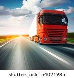 red truck on blurry asphalt...   Shutterstock . vector #54021985