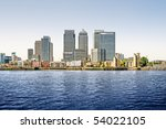 Panoramic picture of Canary Wharf view from Greenwich. This view includes: Credit Suisse, Morgan Stanley, HSBC Group Head Office, Canary Wharf Tower, Citigroup Centre, and One Churchill Place. - stock photo