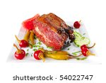 beef meat and red peppers on... | Shutterstock . vector #54022747