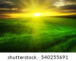 sunset over agricultural green... | Shutterstock . vector #540255691