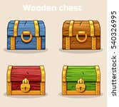 closed colored wooden treasure...