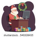 office santa claus sit computer ... | Shutterstock .eps vector #540328435