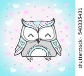 cute owl bird  heart pattern.... | Shutterstock .eps vector #540335431